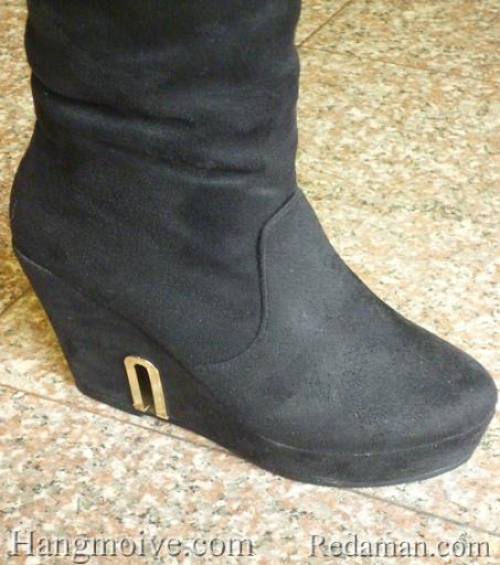 Boots đế xuồng, cao cổ quá đầu gối, chất liệu bằng da lộn, màu đen 4 - Chỉ với 680.000đ