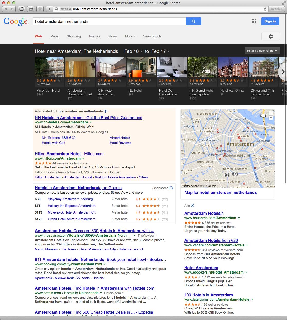 Google Carrousel voor Hotels Amsterdam