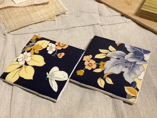blue, floral, ceramic, coaster