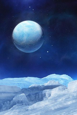 Blue 3D Planet Earth on Winter Wallpaper For iPhone