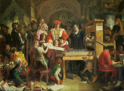 Daniel Maclise - Caxton Showing the First Specimen of His Printing to King Edward IV at the Almonry, Westminster