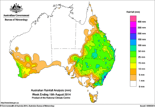 Rain in OZ12th -19th aug 2014
