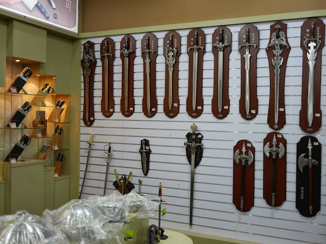 swords and axes for sale at Smart Wife Knives in Yangjiang, China