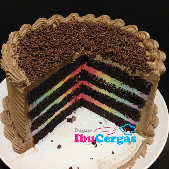 rainbow cake basic buttercream senang mudah
