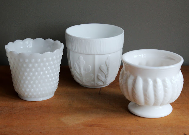 Milk glass planters available for rent from www.momentarilyyours.com, $1.00 each.