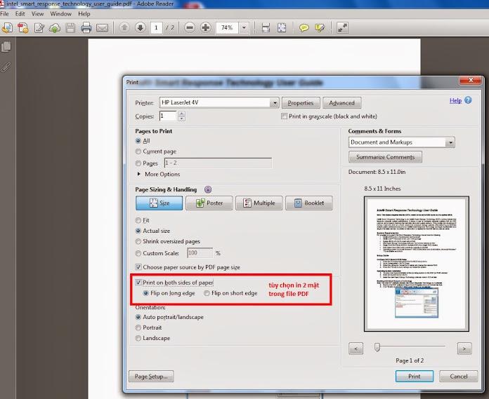 Tab Size, tùy chọn in 2 mặt trên Adobe reader XI.