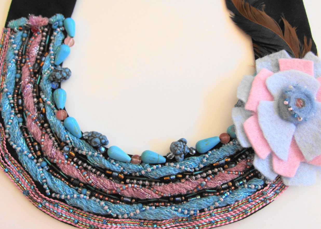 Multimedia Necklace with Feathers by Georgean Beauty