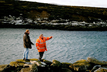 Andrew Buckley of Hit and Run History and David Pole-Evans at Port Egmont, Saunders Island