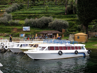 Ferries on the Isla del Sol on Lake Titicaca in Bolivia