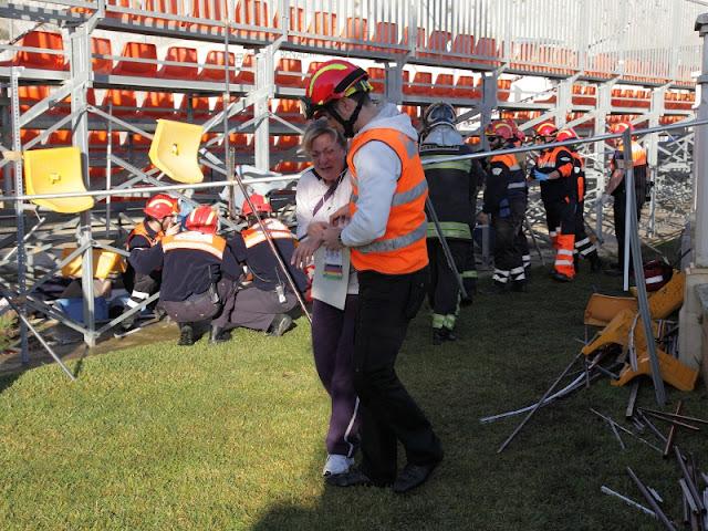 Voluntarios actuando en el lugar del Siniestro