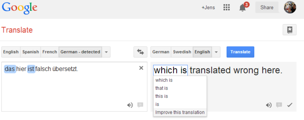 Google Translate Wrong