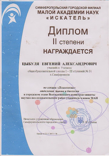 Цыбуля Евгений, МАН Украины Психология 1 этап 2 место 2013-14 уч.год