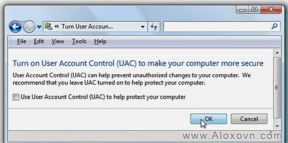 Uncheck ô kiểm Use User Account Control (UAC)