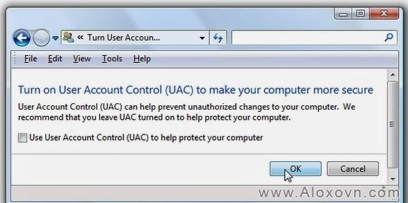 Uncheck ô kiểm Use User Account Control (UAC)