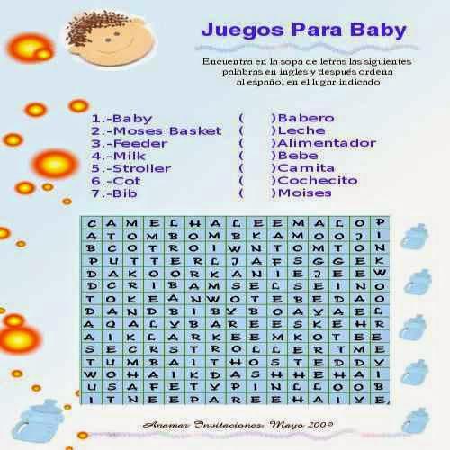 Juegos de bebe para imprimir Sopa de letra