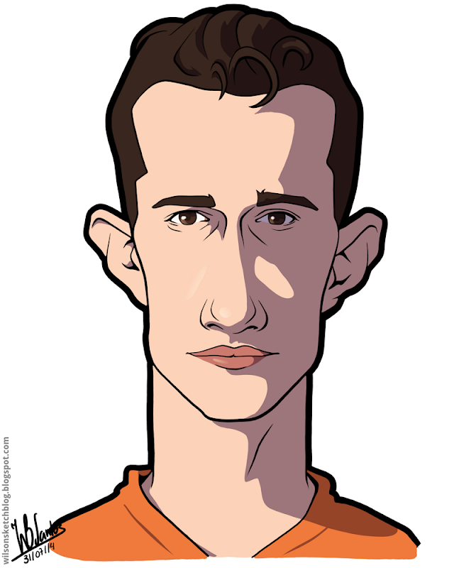 Cartoon caricature of Van Persie.