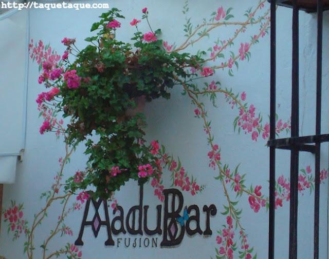 flores y mariposas pintadas en la fachada de la terraza del MaduBar Fusion, en Estepona (Málaga)