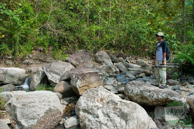 batu-batu lahar purba di sepanjang aliran sungai Curug Nglarangan, Gedangsari, Gunungkidul