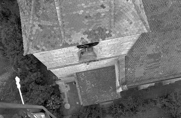 Kirchturm Kirchfarrnbach Blick nach unten