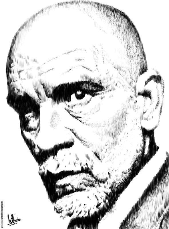Hatching drawing of John Malkovich, using Krita 2.4.