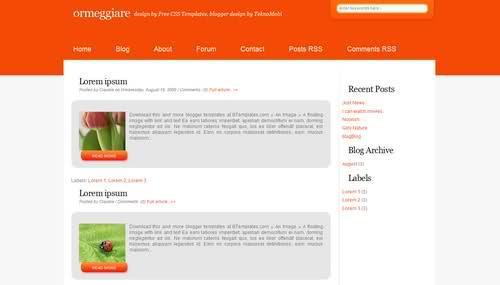 Free Blogger Simple Orange White Web2.0 Template