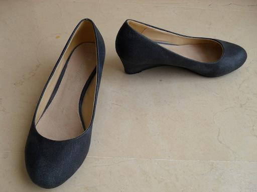 Zapatos de cuña simulación tela