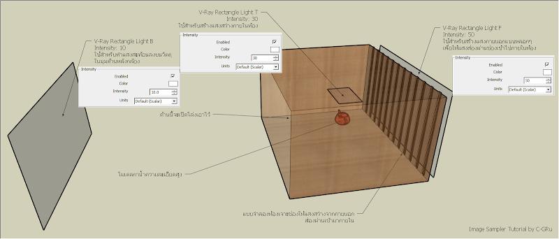ตัวอย่างการกำหนดค่า V-Ray Options ในส่วนของ Image Sampler Vrayimagesam01