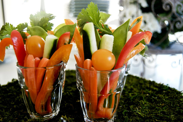 serve crudites in mini shot glasses- The  Style Sisters, Appetizers, Fresh Veggies