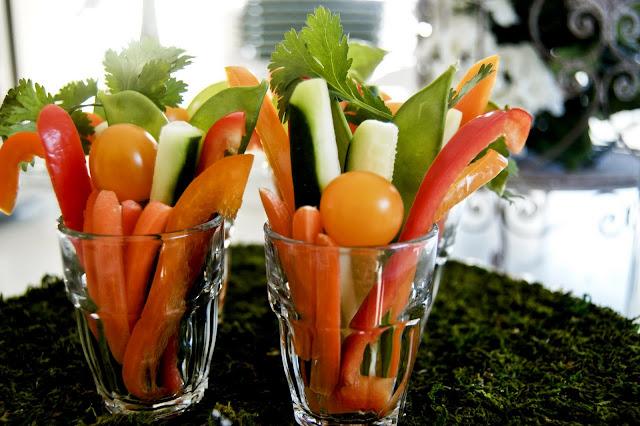 serve crudites in mini shot glasses- The  Style Sisters, Appetizers, Fresh Veggies