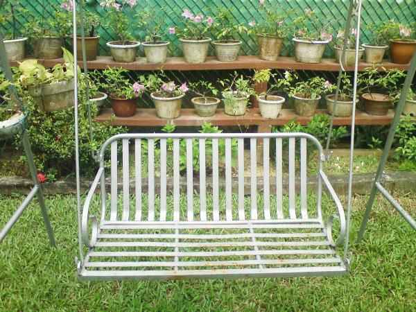 metallic garden swing