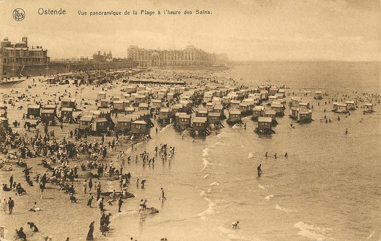 Cabanes de plage avec chevaux au 19ème siècle
