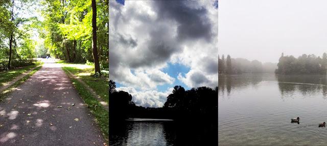 Sonne, Wolken und Nebel im Park und am See