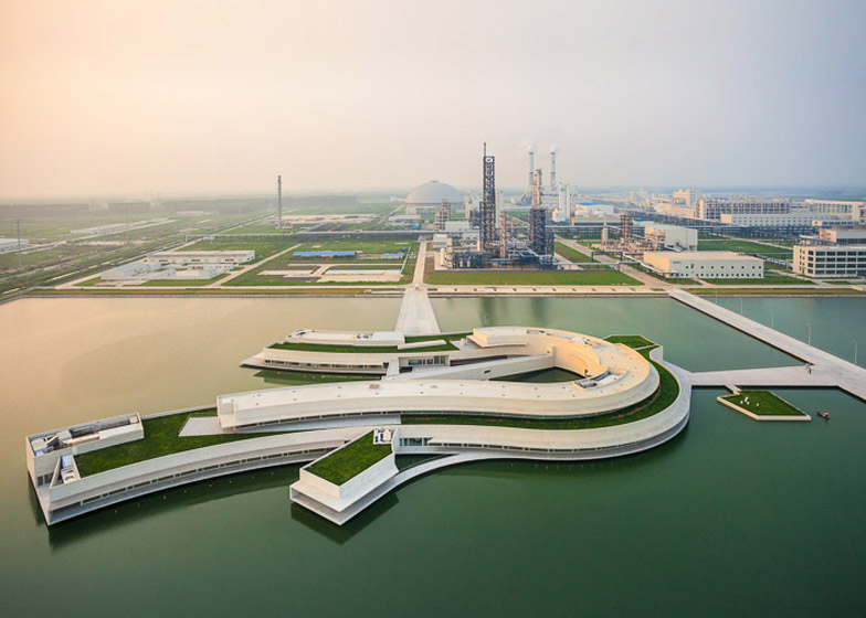 Huaian, Jiangsu. China: The Building On the Water by ÁLvaro Siza + Carlos Castanheira