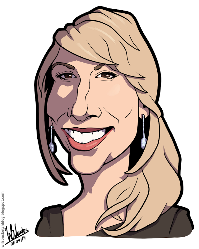 Cartoon caricature of Lori Greiner.