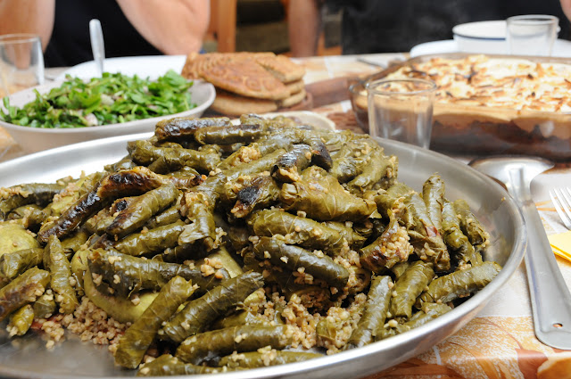 grape leaves stuffed with freekeh, green roasted wheat