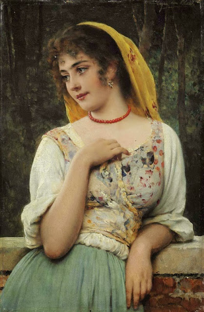 Eugene de Blaas - A Pensive Beauty