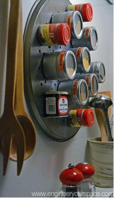 Decorativa idea para organizar las especias en al cocina.