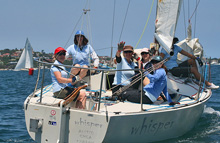 J/24 women's sailing team in Sydney, Australia