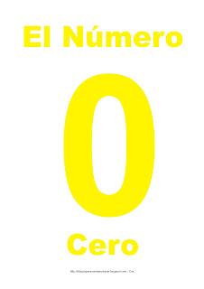 Lámina para imprimir del número cero en color amarillo