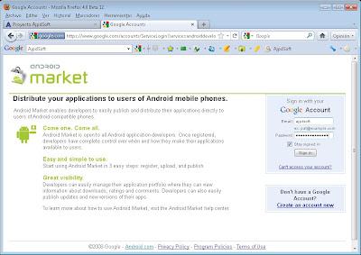Alta de cuenta en servicio Android Market con desarrollador