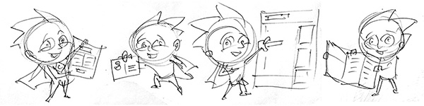 cartoon mascot pose