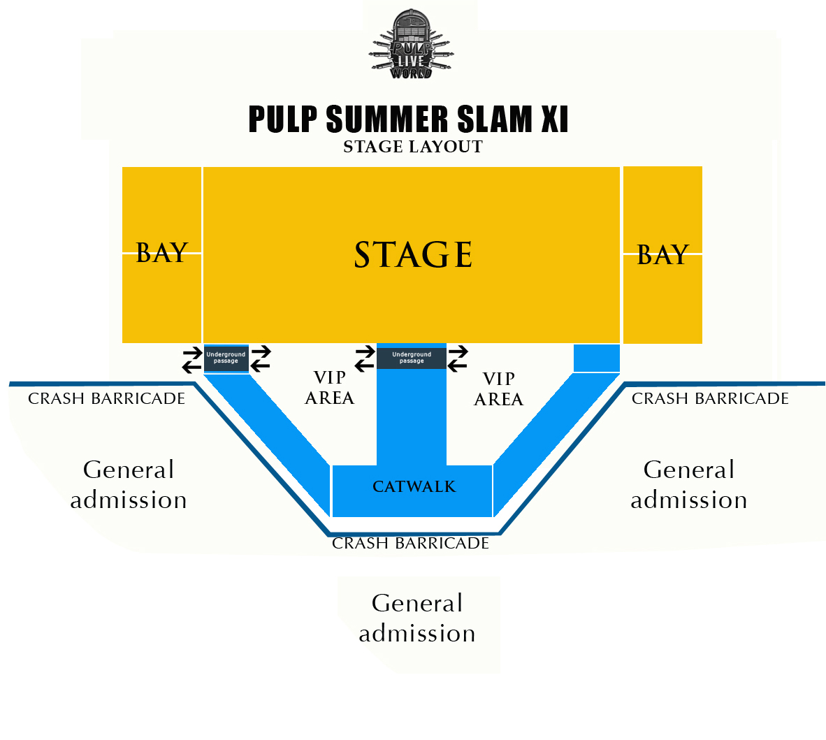 VIP Package is available for Php 5,000.00, PULP SUMMER SLAM 11: Stage Layout, VIP Passes now Available, Pulp Summer Slam 11 Stage Layout,