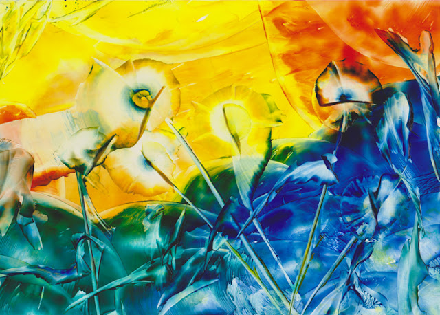 Rainbow Color Art by Sandra Illing - Original Encaustic Painting