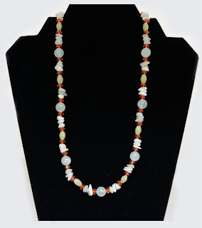 "Gentle Movement - Sea Green and Ching Hai jade with Swarovski crystals  20""  $38"