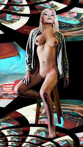 A computer-developed digital fine art image of a female nude, seated, using a fractile background.