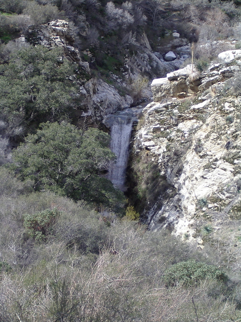 waterfall view from atop the higher trail