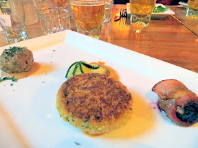 Kells Brew Pub dinner, an omnivore sampling of the Wee Plates included bacon wrapped fig stuffed with goat cheese, salmon cakes that is served with a tasty chipotle remoulade and house made pickles, and Irish Stout Meatball with Kells Irish Stout Sauce Paired with the Kells Irish Lager
