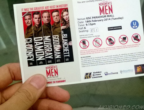 tiket filem The Monuments Men