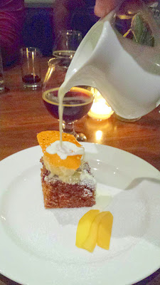 Dessert, a Black Sticky Gingerbread with quince sorbet, ginger tuile, poached quince and warm sweet cream poured tableside at the Raven and Rose and Goose Island Brewers' Dinner Series event on December 7, 2014. Paired with the Bourbon County Barleywine