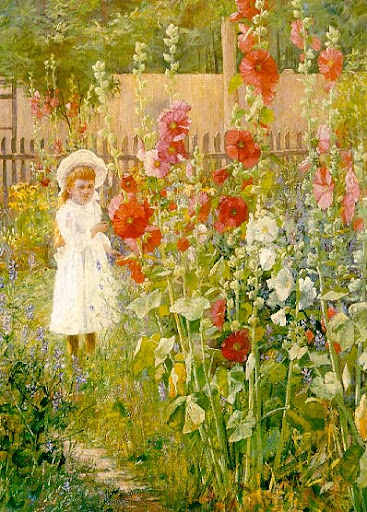 J. Ottis Adams - Little Girl With Hollyhocks